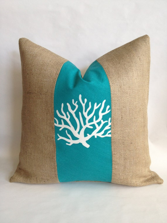 Turquoise Coral Fabric and Burlap Pillow Cover
