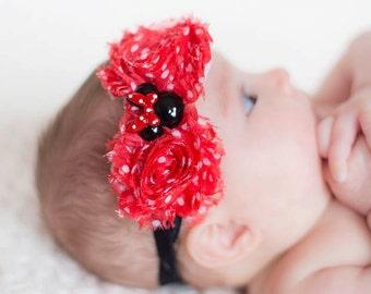 minnie mouse inspired hedband, any size, newborn headband
