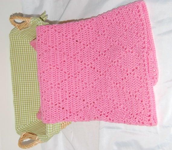Crochet Baby Blanket Diamond Pattern : Crochet Pink Diamond Blanket for Baby or Toddler Ready to