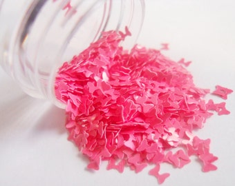 """Matte Pink Bows Ribbons 1/2 Ounce 1/8"""" Solvent Resistant Glitter Frankening Nail Polish Supply Hairbow Shaped Glitter"""