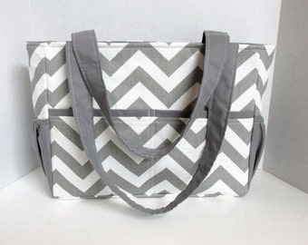 Chevron Diaper Bag Gray with Gray Lining Accent or Choose Your Own 12 Pockets Zipper Closure