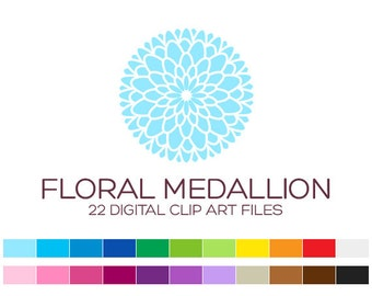 Floral Medallion Clipart for Personal & Commercial Usage - 22 digital medallions / 3x3 inches - A70012