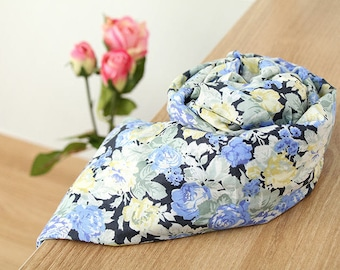 """Semi-sheer Cotton Fabric Lightweight and Thin - Roses Blue - 55"""" Wide - By the Yard 60408 - GJ"""