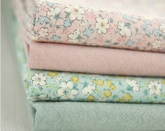 Pastel Cotton Fabric - Flowers or Solid - By the Yard 56357