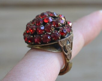 spectacular antique art deco adjustable brass flapper cherry cluster puffball ring with red rhinestones