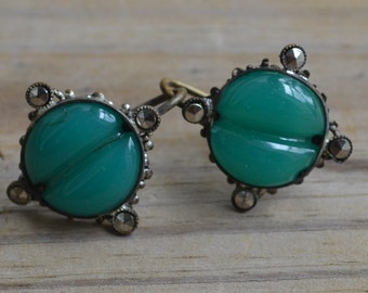 Lovely antique edwardian art deco filigree earrings with marcasites and jade green glass stone hallmarked czechoslovakia
