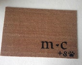 Couples Door Mat, Custom Made with Initials and Pet/Pawprint for Dog or Cat