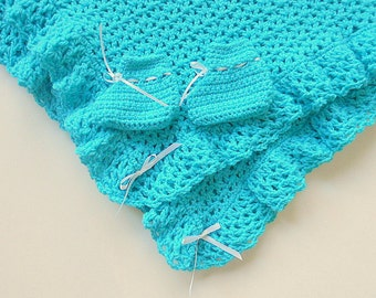 Baby Boy Aqua Blanket And Booties Infant Girl Turquoise Afghan With Slippers Gender Neutral Newborn Crochet Shower Gift Set