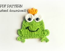 Crochet frog applique pattern, crochet pattern, pattern no. 103