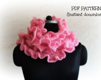 Crochet scarf pattern, ruffled scarf pattern, crochet neckwarmer, scarf with ruffled edge, pattern no. 91