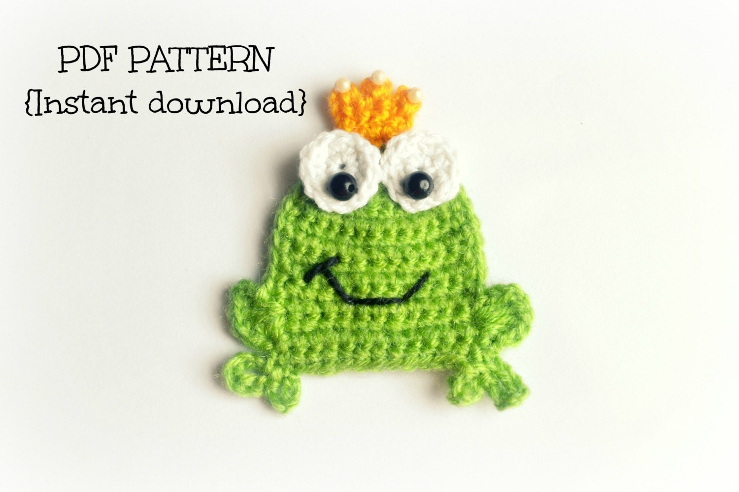 crochet frog applique pattern crochet pattern by tlhpatterns. Black Bedroom Furniture Sets. Home Design Ideas