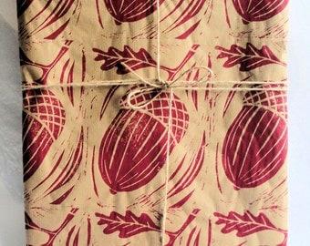 Autumn Acorns hand printed giftwrap