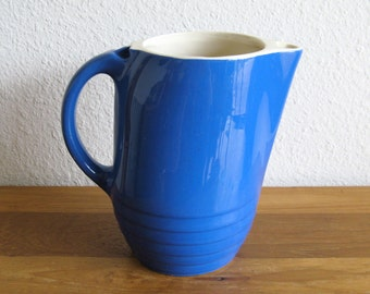 Vintage Blue Stoneware Pitcher