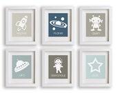 Outer Space - Set of Six Nursery Art Prints - Children Decor, Nursery Art, astronaut, rocket, space ship, ufo, alien, Nursery Decor, Kid Art
