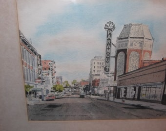Original Davis Gray (the college watercolor group) watercolor print signed and dated Paramount Art Centre of Aurora, Ill, wonderful piece