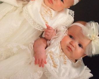 Ivory Baptism Bib - Ivory Christening Bib - Monogrammed Ivory Bib - Cross Bib - Dressy Bib - weddings Bibs - Lace Bibs - Girls Bibs- Bibs