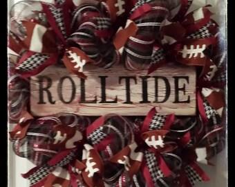 Alabama Football Wreath, Alabama Football Wreath, College Football Wreath, SEC, Bama, Roll Tide