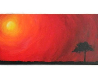 "Simple Sunset - Original Acrylic Painting - 12X24"" - Sunset Painting - Tree painting - Landscape painting - Simple painting"