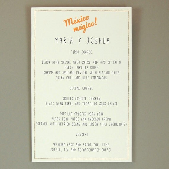 Destination wedding dinner menus colorful mexican by for Maria s italian kitchen menu