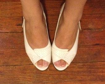 White slingback, 70s era, handmade leather heels