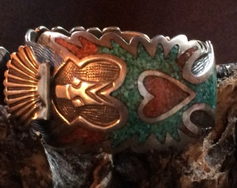 SALE - Signed Jerome Benally Vintage Sterling Silver Native American Hand Made Waterbird Watch Cuff