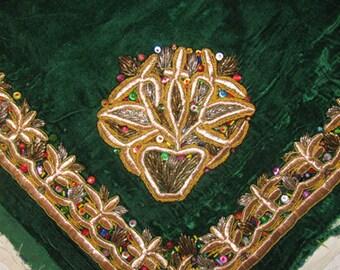 Vintage Uzbek Hand Gold Embroidery - Wedding Kerchief