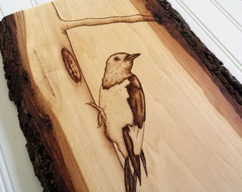 Bird Decor, Rustic Wood Art Woodpecker, Bird Art Wooden Artwork Bird Wall Hanging