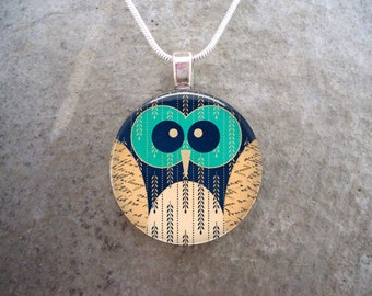 Owl Jewelry - Glass Pendant Necklace - Owl 6