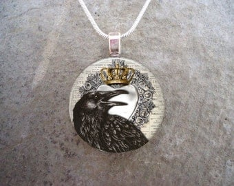 Crow Jewelry - Bird Jewellery - Glass Pendant Necklace - Raven 22 - PRE-ORDER