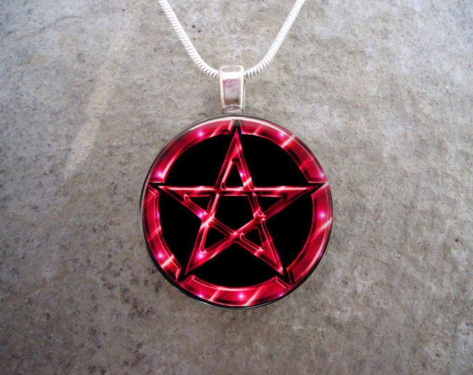 Wiccan Pentacle Jewelry - Glass Pendant Necklace - Black and Red