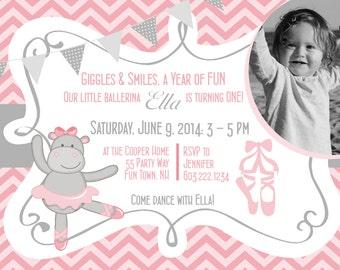 Hippo Ballerina First Birthday Girl Invitation Chevron Pink Gray Ballerina Hippo Chevron - Gray Pink - Birthday Girl Invite Ballerina Shoes