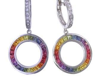 Multicolor Rainbow Sapphire & Diamond Circle Huggie Earrings 14K White Gold 4.04ct tw SKU 1090 14K Wg