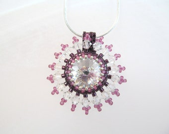 Crystal Necklace clear rivoli 14mm crystal, peyote stitch beading and surrounded by clear crystals
