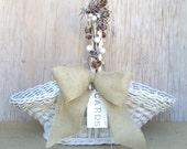 Wedding Card Holder : Winter Wedding Decoration , Rustic Basket with Pinecones Burlap