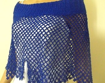 Crochet capalet in shining royal blue, mothers day gift ideas, gift for mom, gift for her, womens fashion
