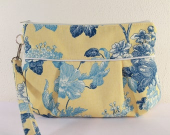 Pleated Purse Clutch in Blue Gray Floral Removable Wrist
