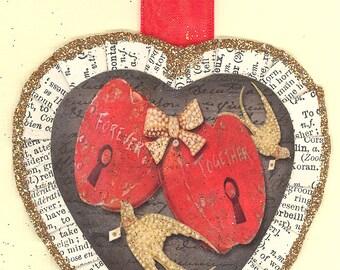 Valentine heart ornament Together Forever vintage style
