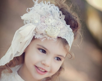 Rosette headband flower headband cluster ivory Cream and Pale Pinks  Silk Handrolled Rosette Bow Thick LACE Headband Curly ostrich feathers,