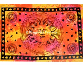 Psychedelic Celestial Sun Moon Tie Dye Tapestry Stars