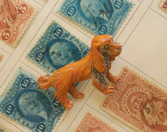 Enamel Cocker Spaniel Dog Pin with Marcasite 50s Vintage