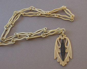 ART DECO Egyptian Revival Celluloid Pendant Necklace 20s Vintage