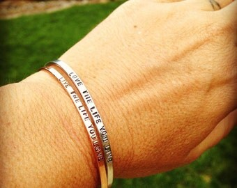 Super Thin Bracelet- Hand Stamped