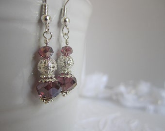 Purple Sparkly Bridesmaid Earrings Purple Wedding Bridesmaid Gift Bridal Party Maid of Honor