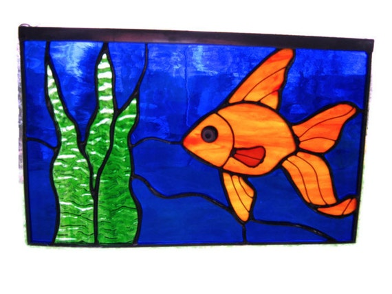Stained glass fish window panel goldfish art children 39 s for Stained glass fish