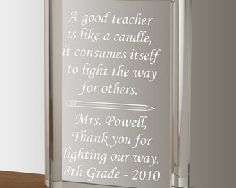Personalized Crystal Book Keepsake for Teacher