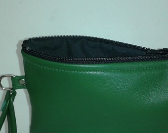 Military Green Leather Wristlet- Limited Edition Color