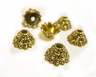 12pc antique gold finish 12x7mm flower shape bead caps-8222