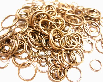 1 oz 4mm to 10mm Antique Copper Finish Jump Ring Mix(nickel free)-8854