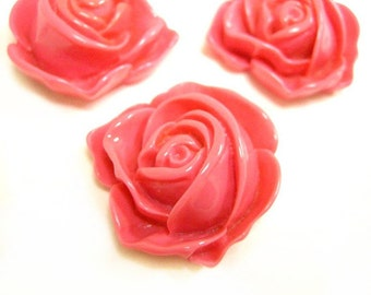 4pc 32mm Resin Flower Cabochon-4929