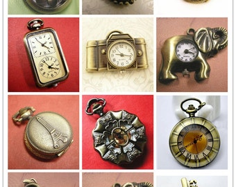 Clearance sale-24pc assorted vintage watch pendant(NO BATTERY)